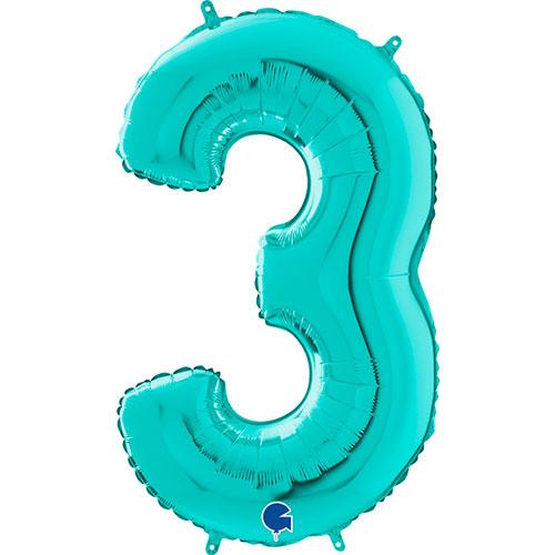 Globo Gigante De Papel De Helio Azul Número 3 Tiffany 66Cm / 26 In