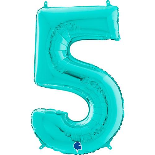 Globo Gigante De Papel De Helio Azul Número 5 Tiffany 66Cm / 26 In