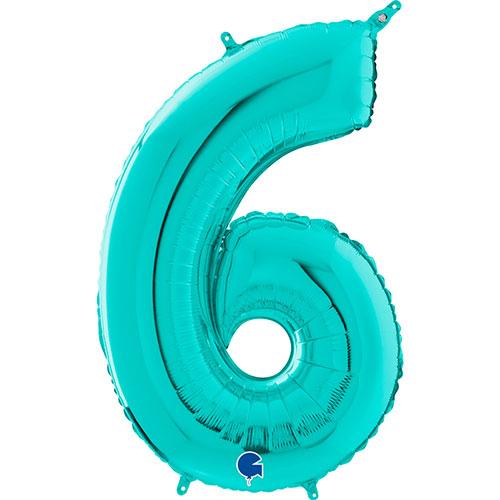 Globo Gigante De Papel De Helio Azul Número 6 De Tiffany 66Cm / 26 In
