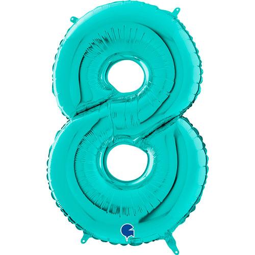 Globo Gigante De Papel De Helio Azul Número 8 Tiffany 66Cm / 26 In