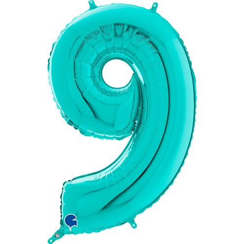 Globo Gigante De Papel De Helio Azul Número 9 Tiffany 66Cm / 26 In
