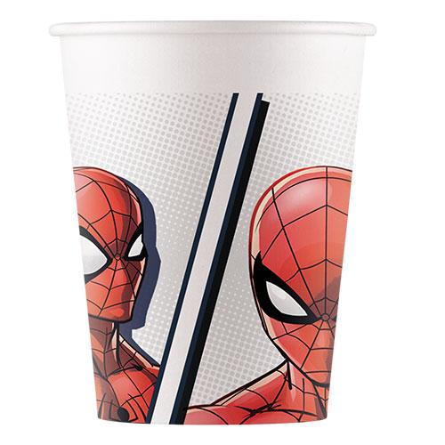 Spider-Man Compostable Vasos De Papel 200 Ml - Paquete De 8