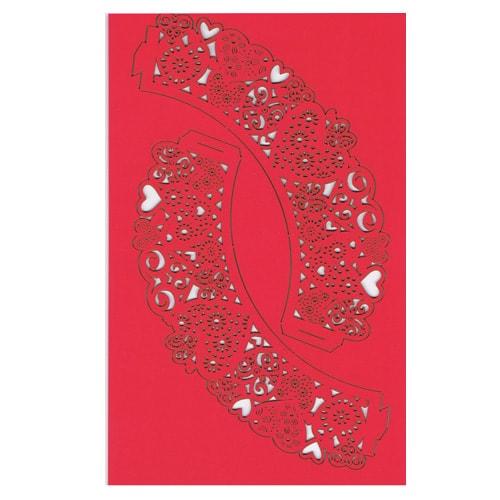 Corazones rojos 55mm Envolturas de la Magdalenas Blancos - Pack de 12