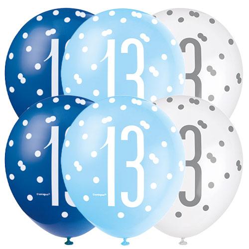 Azul Brillo Años 13 Globos De Látex Biodegradables Surtidos 30Cm / 12 In - Paquete De 6