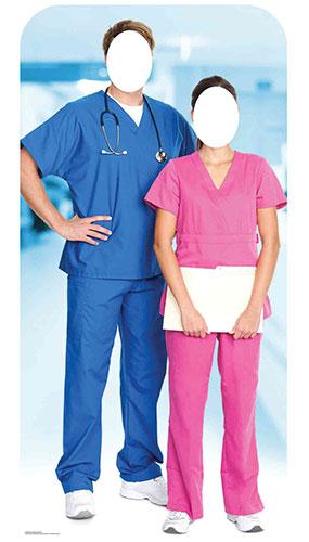 Soporte Para Médico Y Enfermera En Recorte De Cartón De Tamaño Natural 190 Cm