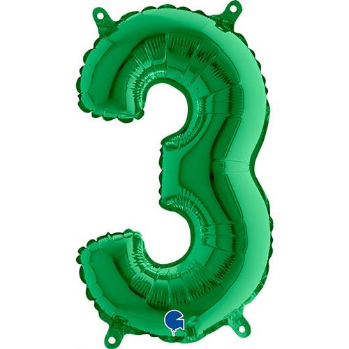 Número 3 De Llenado De Aire Verde Lámina 35Cm Globo / 14 En