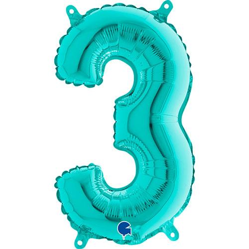 Número 3 Tiffany Relleno Azul Aire Lámina 36Cm Globo / 14 En