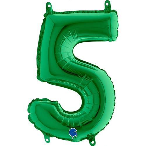 Número 5 De Llenado De Aire Verde Lámina 35Cm Globo / 14 En