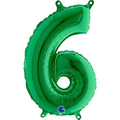 Número 6 Globo De Papel De Relleno De Aire Verde 35 Cm / 14 In