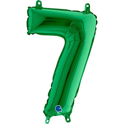 Número 7 De Llenado De Aire Verde Lámina 35Cm Globo / 14 En