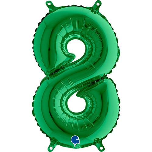 Número 8 De Llenado De Aire Verde Lámina 35Cm Globo / 14 En