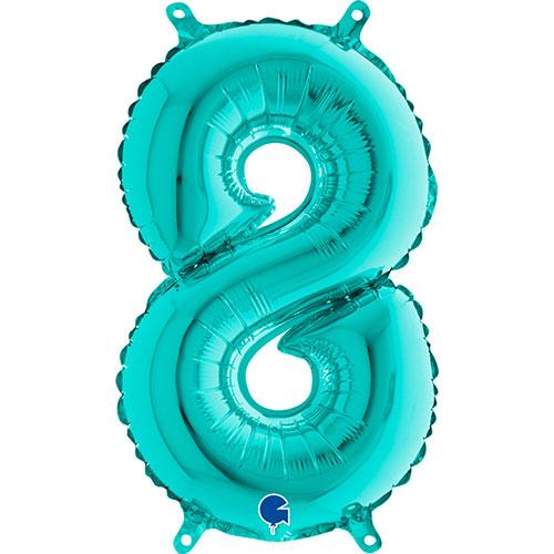 Número 8 Tiffany Relleno Azul Aire Lámina 36Cm Globo / 14 En