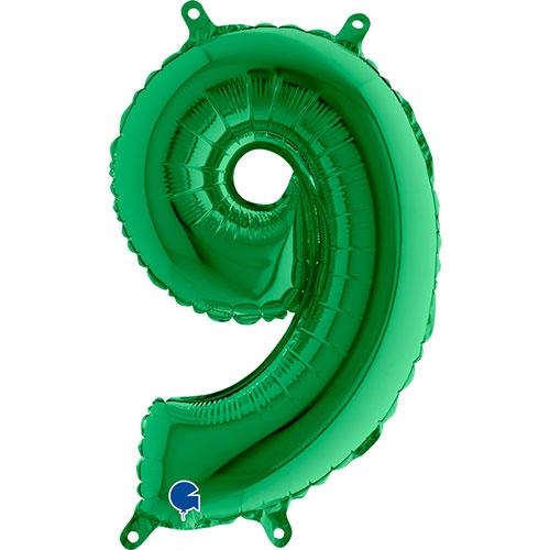 Número 9 De Llenado De Aire Verde Lámina 35Cm Globo / 14 En