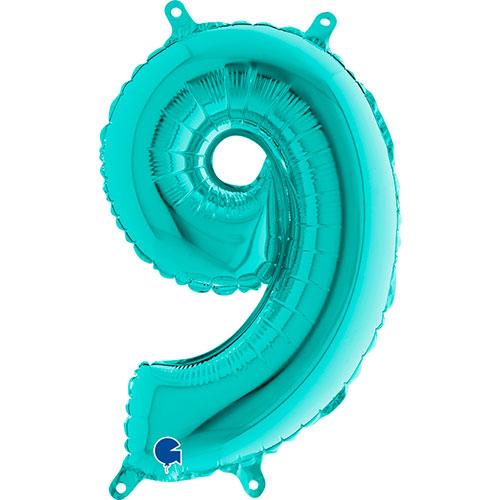 Número 9 Tiffany Relleno Azul Aire Lámina 36Cm Globo / 14 En