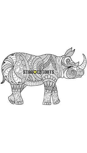 Diseño De Rinoceronte Artesanal Color Estrella Mini Recorte De Cartón 93Cm