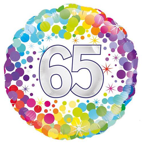 65 Años Confeti De Colores Globo De Helio De Aluminio Redondo 46 Cm / 18 In