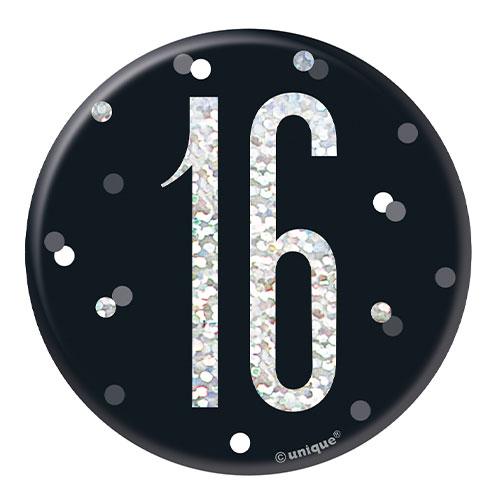 Edad Brillo Negro Holográfica 16 Cumpleaños 7Cm Insignia