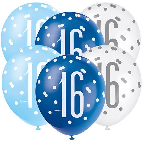 Edad De Brillo Azul 16 Globos De Látex Biodegradables Surtidos 30Cm / 12 In - Paquete De 6