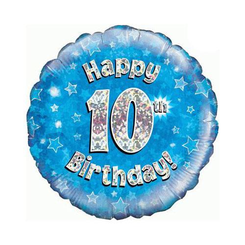 Azul Feliz Cumpleaños Número 10 De Lámina Holográfica Ronda De Helio Del Globo 46 Cm / 18 En