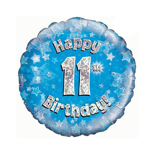 Azul Feliz Cumpleaños Número 11 De Lámina Holográfica Ronda De Helio Del Globo 46 Cm / 18 En