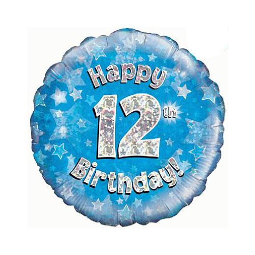 Azul Feliz Cumpleaños 12 Holográfica Lámina Redonda De Helio Del Globo 46 Cm / 18 En