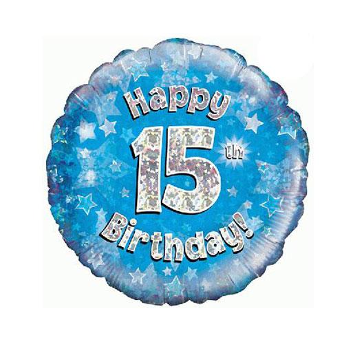 Azul Feliz 15To Cumpleaños Holográfico Redondo Globo De Helio 46Cm / 18 In