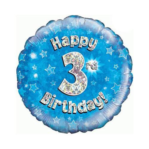 Azul Feliz Cumpleaños Holográfica Tercera Ronda De Lámina De Helio Globo 46 Cm / 18 En