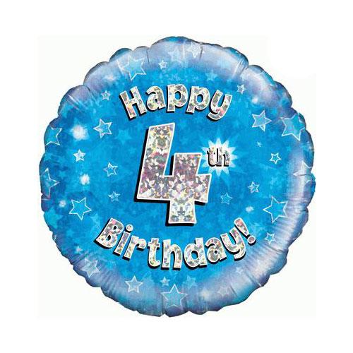 Azul Feliz Cumpleaños Cuarta Ronda Holográfica Papel De Helio Del Globo 46Cm / 18 En