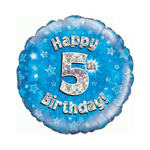 Azul Feliz Cumpleaños Quinta Lámina Holográfica Ronda De Helio Del Globo 46Cm / 18 En