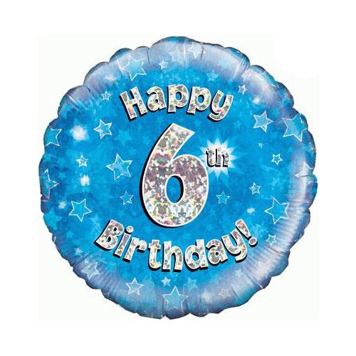 Azul Feliz Cumpleaños Sexta Lámina Holográfica Ronda De Helio Del Globo 46Cm / 18 En