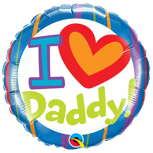 I Heart Daddy Día Del Padre Lámina Redonda Globo De Helio Qualatex 46Cm / 18 In