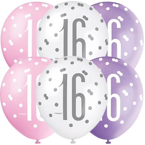 Brillo De Color Rosa 16 Edad Surtido Globos De Látex Biodegradables 30Cm / 12 En - Paquete De 6