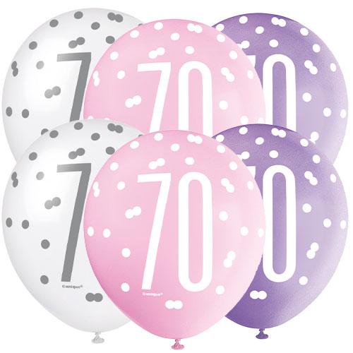 Edad De Brillo Rosa 70 Globos De Látex Biodegradables Surtidos 30Cm / 12 In - Paquete De 6