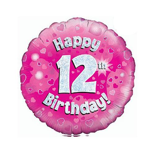 Rosado Feliz 12 Cumpleaños Holográfica Ronda Lámina De Helio Globo 46Cm / 18 En
