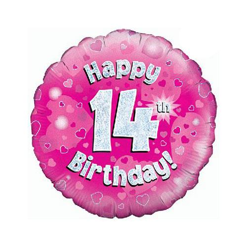 Rosado Feliz 14 Cumpleaños Holográfica Ronda Lámina De Helio Globo 46Cm / 18 En
