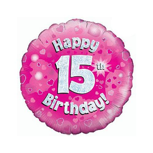Rosado Feliz 15 Cumpleaños Holográfica Ronda Lámina De Helio Globo 46Cm / 18 En