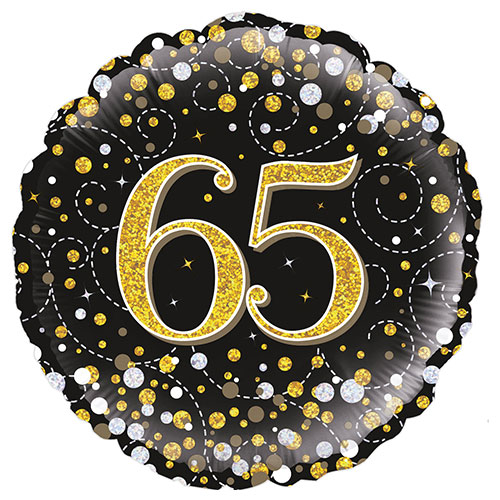 Espumosos 65 Cumpleaños Negro Holográfica De Helio Globo Redondo De Aluminio De 46 Cm / 18 En