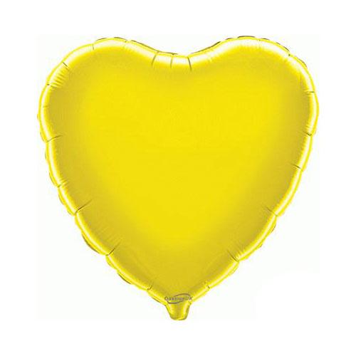 Globo De Helio De Lámina De Corazón Amarillo 46Cm / 18 In