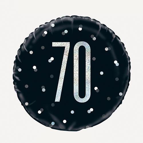 Negro Brillo Edad 70 Holográfica Globo De Helio De Aluminio Redondo 46Cm / 18 In