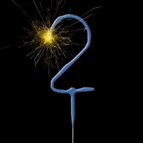 Azul Número 2 No Mano 17Cm Bengala Celebrada