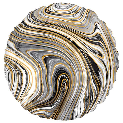 Marmol Negro Globo De Helio De Aluminio Redondo 43Cm / 17 In