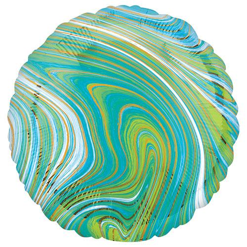 Marblez Azul Verde Lámina Redonda Helio Globo 43Cm / 17 En