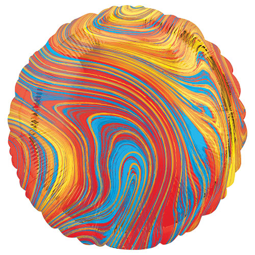 Marblez Colorido Ronda Lámina De Helio Globo 43Cm / 17 En