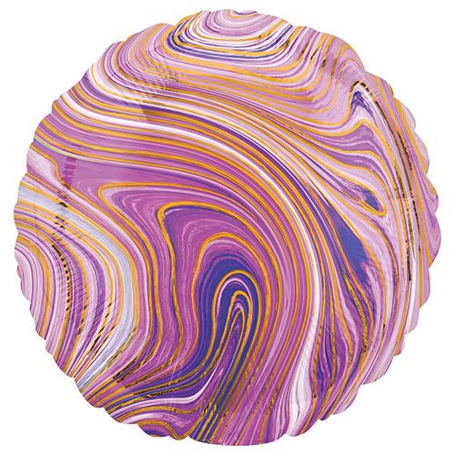 Globo De Helio De Lámina Redonda Púrpura Marblez 43Cm / 17 In