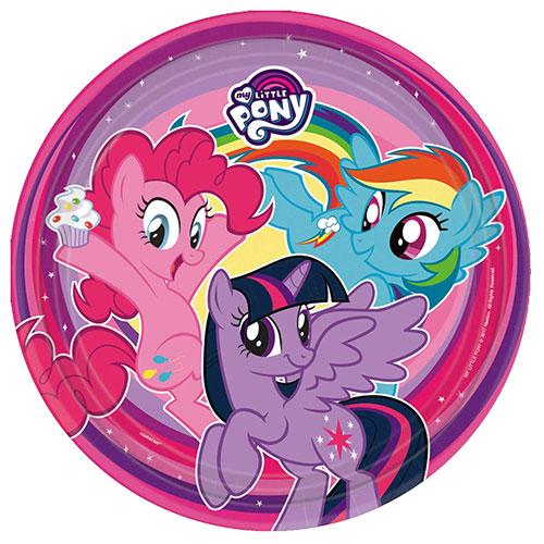 my little pony platos de papel redondos 23cm - paquete de 8