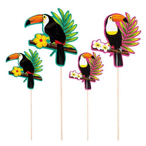Palitos De Cóctel Hawaiano De Tucán - Paquete De 4