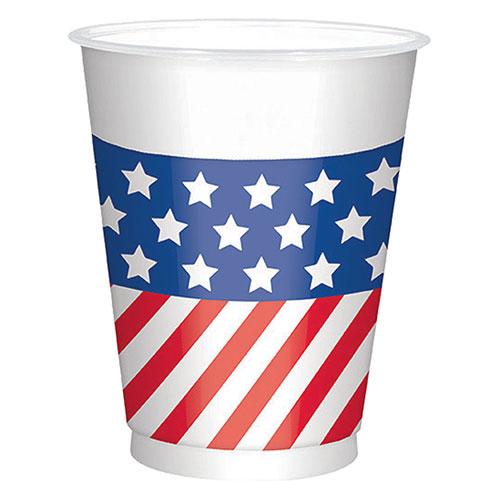 Bandera EE.UU. Grandes Vasos De Plástico De 473Ml - Paquete De 25