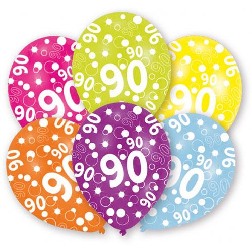 Globos De Látex Surtidos Para El 90 Cumpleaños 28Cm / 11 In - Paquete De 6