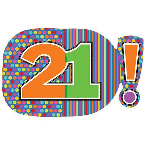 21 Años Puntos Y Rayas Globo Gigante De Papel De Helio 74Cm / 29 In