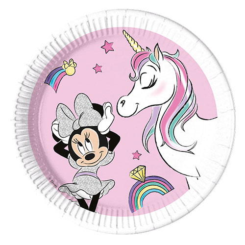 Disney Compostable Minnie Mouse Unicornio Sueños Platos Redondos De Papel 23Cm - Paquete De 8